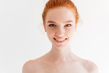 Close up portrait of happy naked ginger woman - 171292475