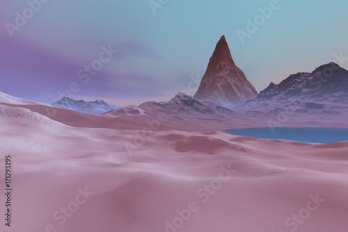 Foto op Canvas Lavendel Winter, a polar landscape, snowy mountains, blue waters and a wonderful sky.