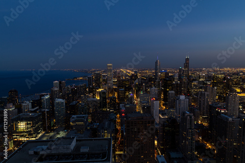 Poster Chicago Skyline von Chicago von oben