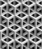 monochrome geometric 3d texture on a black background, seamless decorative wallpaper