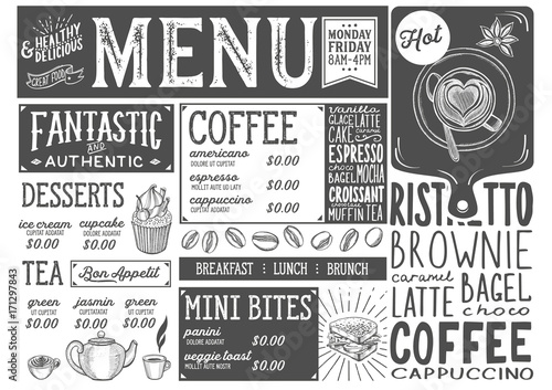 Poster Coffee menu restaurant, drink template.