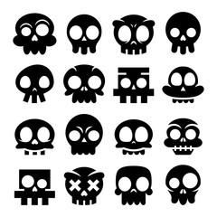 Halloween vector cartoon skull icons, Mexican cute black sugar skulls design set