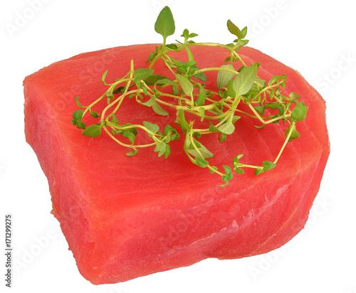 Foto op Plexiglas Steakhouse raw tuna steak decorated with thyme