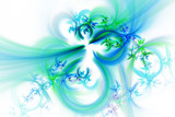 Abstract fantastic blue and green flowers on white background. Fantasy asymmetrical fractal texture. 3D rendering.