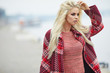 Blonde autumn woman in city - 171299854