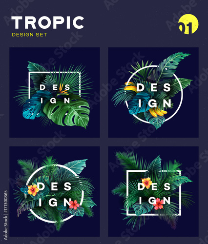 Set of Bright tropical background with jungle plants. Exotic pattern with tropical leaves - 171300865