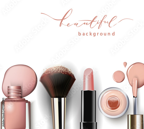 Cosmetics and fashion background with make up artist objects: lipstick, nail Polish. Template Vector.
