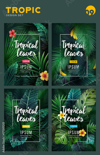 Set of Bright tropical background with jungle plants. Exotic pattern with tropical leaves - 171301201