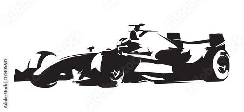 Fotobehang F1 Formula race car, abstract vector silhouette