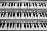 Keys on the organ and piano keyboard