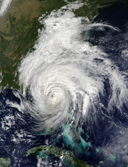 Satellite view of hurricane Matthew over Florida.Elements of this image furnished by NASA.