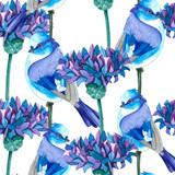 The victitional pattern. White-blue birds. Blue-violet cornflowers.