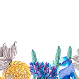 Gray Butterflies. Blue birds. Antique clock. Violet and blue cornflowers with green leaves.