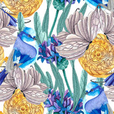 The victitional pattern. Gray Butterflies. Blue birds. Antique clock. Violet and blue cornflowers with green leaves.