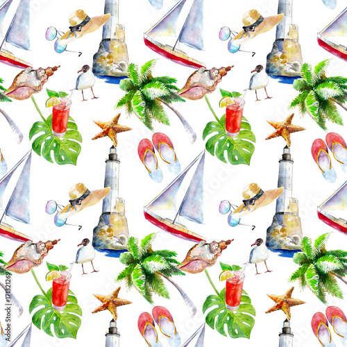 Materiał do szycia Holidays summer background, hand-drawn watercolor seamless pattern on white background.