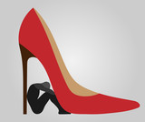 henpecked - a man under a heel of woman shoes - 171321626