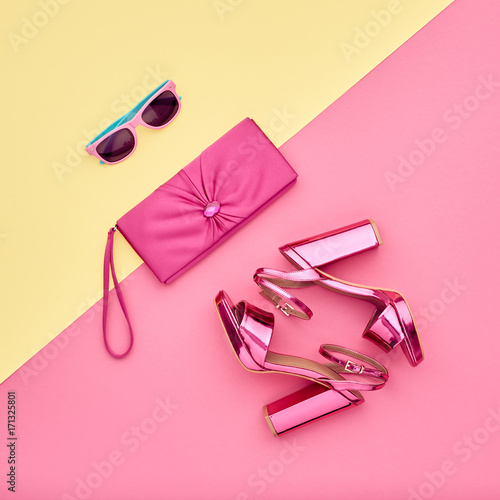 f2f7bcf8cfd5 Fashion Accessories Set. Minimal. Glamor fashion Metallic Pink shoes Heels.  Trendy Sunglasses fashionable