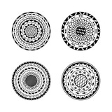 Vector set of four mandalas. Ethnic decorative round ornament. Coloring page book for adult