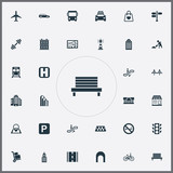 Vector Illustration Set Of Simple Infrastructure Icons. Elements Park Seat, Kiosk, School And Other Synonyms Kiosk, Location And Aircraft. - 171327689
