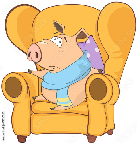 Foto op Plexiglas Babykamer Illustration of a Cute Pig. Cartoon Character