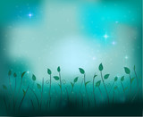 fairy plant glade silhouette at night, fireflies in the summer dream background, vector, - 171330426