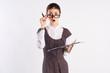 teacher, woman lowers glasses, surprise, emotions