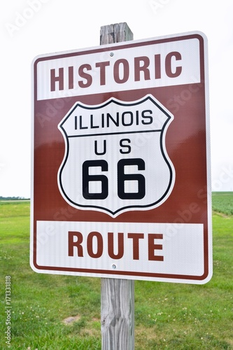 Spoed canvasdoek 2cm dik Route 66 Historic Illinois Route 66 brown sign.
