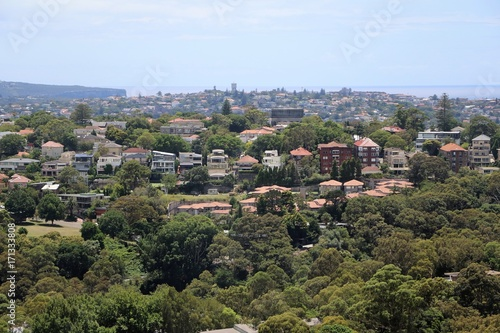 View to Woollahra in Sydney in summer, New South Wales Australia