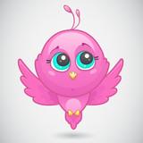 vector illustration of Cute pink bird
