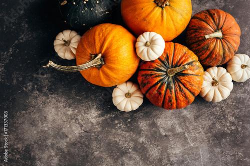Pumpkins on a black background.