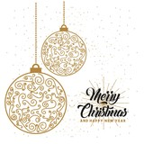 merry christmas and happy new year lettering decoration card design vector illustration - 171337241