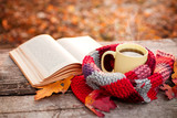 Open book and yellow tea mug with warm scarf - 171337639