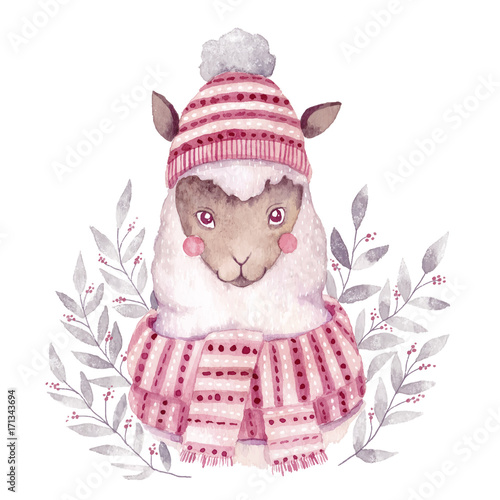 Watercolor vector alpaca illustration. Christmas watercolor animal.Cute kids illustration,perfect for greeting or post cards, prints on t-shirts, phone cases,book and other. Hand drawn baby animal - 171343694