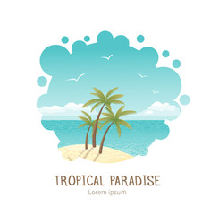 Beautiful tropical island vector illustration. All objects are located on separate layers. Image cropped with Clipping Mask, so you can easily redact it as you need