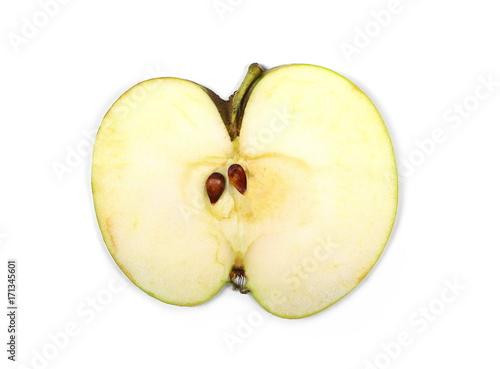 Apple slice isolated on white background