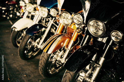 Fotobehang Fiets Motorcycles in a row