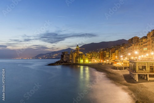 Foto op Canvas Liguria Evening view of Camogli. Beach resort in Liguria