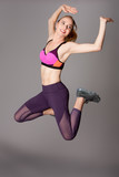 Happy fitness workout power jump - 171348625