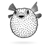 Puffer fish fugu silhouette sharp icon, vector illustration tattoo, cartoon style for T-shirts - 171355227