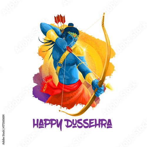 Plakát Digital art illustration for indian holiday Vijayadashami
