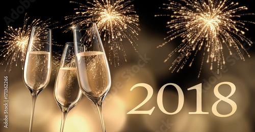 Champagnergläser mit Feuerwerk 2018 Poster
