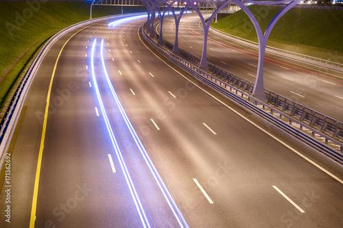 Foto op Plexiglas Nacht snelweg Illuminated highway at night.