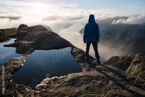 Foto op Canvas Zee zonsondergang Panorama of Lysefjord, Norway