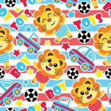 Seamless pattern of cute lion boys, balls and car toys on striped background vector cartoon illustration for birthday wrapping paper, fabric clothes, and wallpaper - 171373692