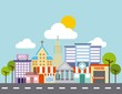 city buildings road urban street landscape vector illustration