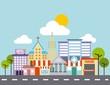 city buildings road urban street landscape vector illustration - 171373880