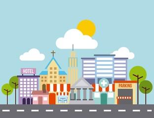 city buildings road urban street landscape vector illustration