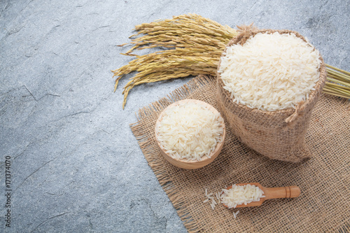 thai fragrant jasmine rice in a bowl with gold spike