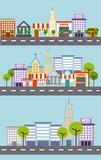 set of city building street tree architecture vector illustration