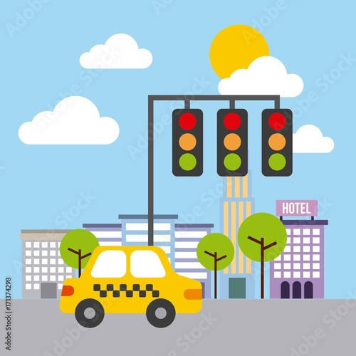 street urban city building structure traffic vector illustration